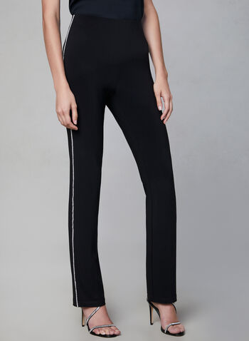 Frank Lyman – Crystal Detail Jersey Pants, Black, hi-res,  evening pants, wide-leg pants