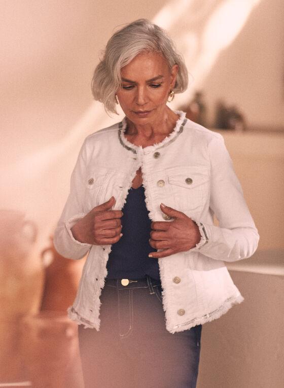 Metallic Trim Denim Jacket, White