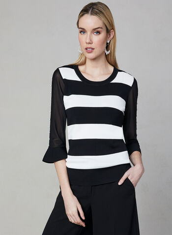 Alison Sheri - Stripe Print Sweater, Black, hi-res