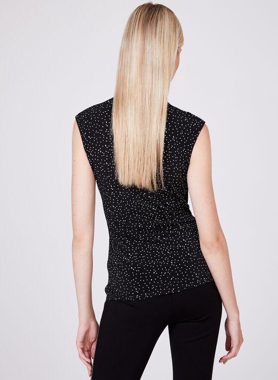 Polka Dot Print Sleeveless Top, Black, hi-res