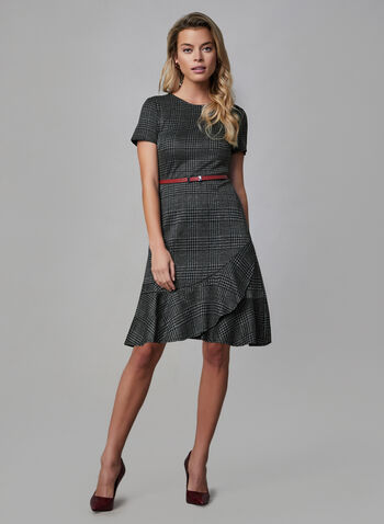 Ruffled Hem Plaid Dress , Black, hi-res,  day dress, prince of wales, plaid, crew neck, short sleeves, knit, ruffled hem, faux leather belt, fall 2019, winter 2019