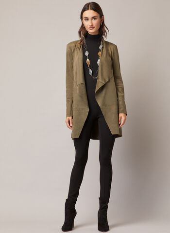 Faux Suede Open Front Jacket, Green,  jacket, faux suede, long sleeves, pockets, stitch, fall winter 2020