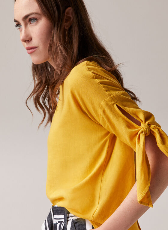 Linen Blend Knotted Sleeve Blouse, Yellow