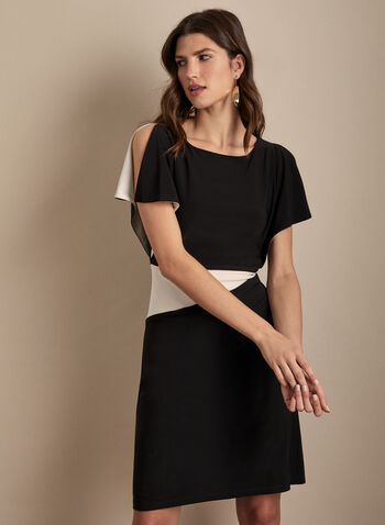 Compli K - Colour Block Sheath Dress, Black,  spring summer 2020, jersey fabric, ruching at waist, sheath silhouette, made in canada, compli k, cape sleeves