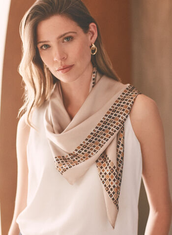 Mosaic Border Lightweight Scarf, Beige,  scarf, square, lightweight, mosaic, print, spring summer 2021