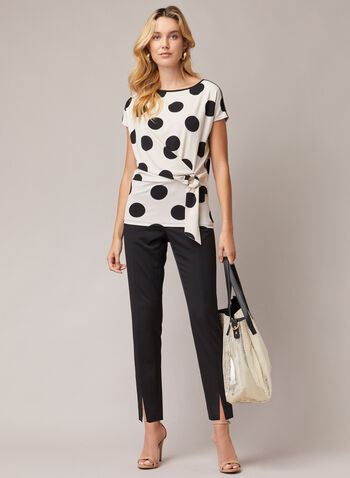 Polka Dot Buckle Detail Top, White,  top, short sleeves, polka dot, jersey, buckle, fall winter 2020