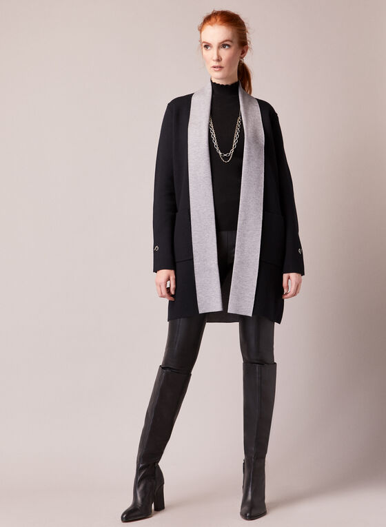 Two Tone Open Cardigan, Grey