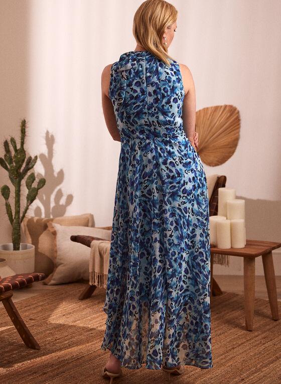 Watercolour Print High Neck Dress, Blue