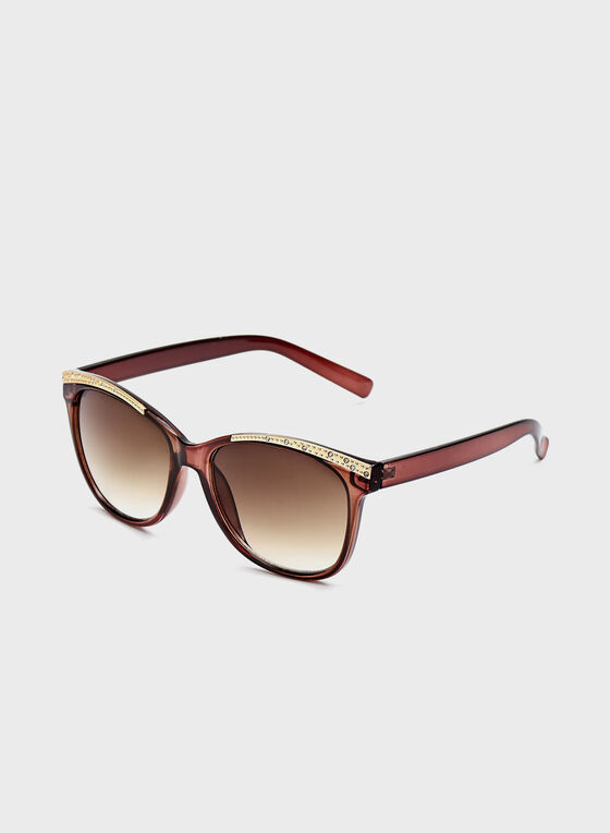 Stone Detail Sunglasses, Brown, hi-res