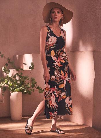 Tropical Print Midi Dress, Black,  spring summer 2021, dress, midi dress, sundress, t-shirt dress, scoop neck, wide strap, racer back, tropical print, tropical, palm print, palm leaf