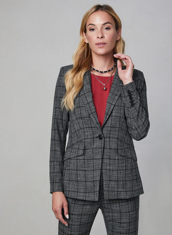 Plaid Print Blazer, Grey,  Knit, plaid print, jacket, blazer