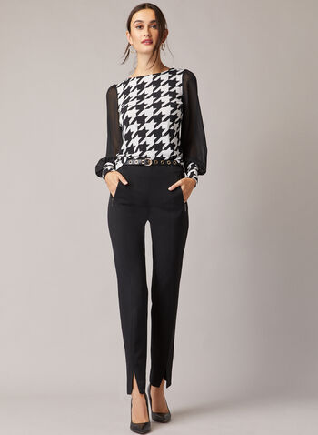 Houndstooth Print Crepe Blouse, Black,  blouse, top, puffed sleeves, crepe, chiffon, houndstooth, fall winter 2020
