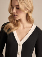 Button Front Long Sleeve Top, Black