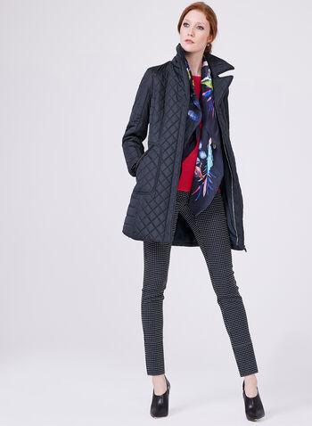 Novelti - Belted Quilted Coat, Blue, hi-res