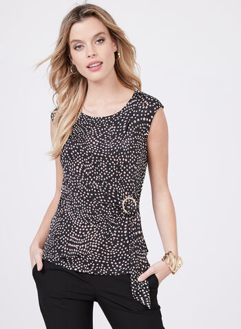 Polka Dot Print Gathered Sleeveless Top, Black, hi-res
