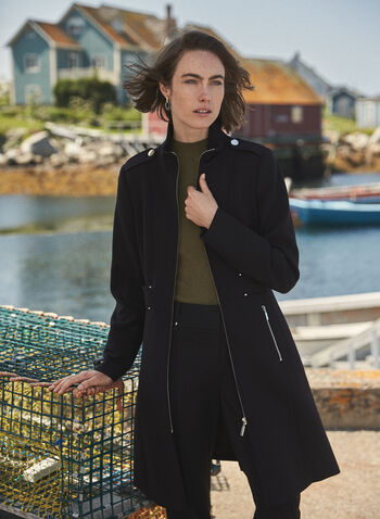 Structured Front Zip Coat, Black,  fall winter 2020, coat, tricotine, long sleeves, military, zipper, zip, structured, pockets
