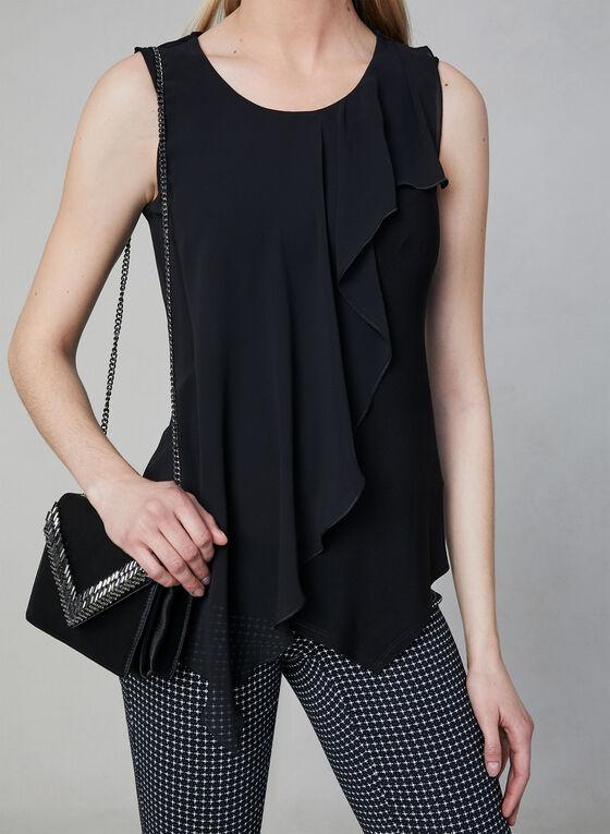 Asymmetrical Sleeveless Top, Black, hi-res