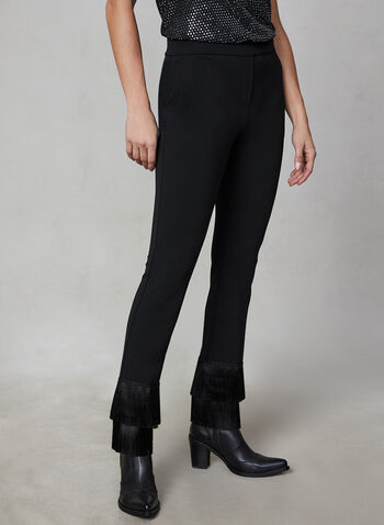 Pantalon jambe étroite à franges, Noir,  automne hiver 2019, pantalon, jambe étroite, franges, taille élastique, pull-on, crêpe