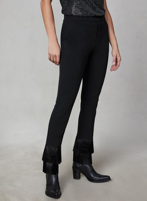 Pantalon jambe étroite à franges, Noir