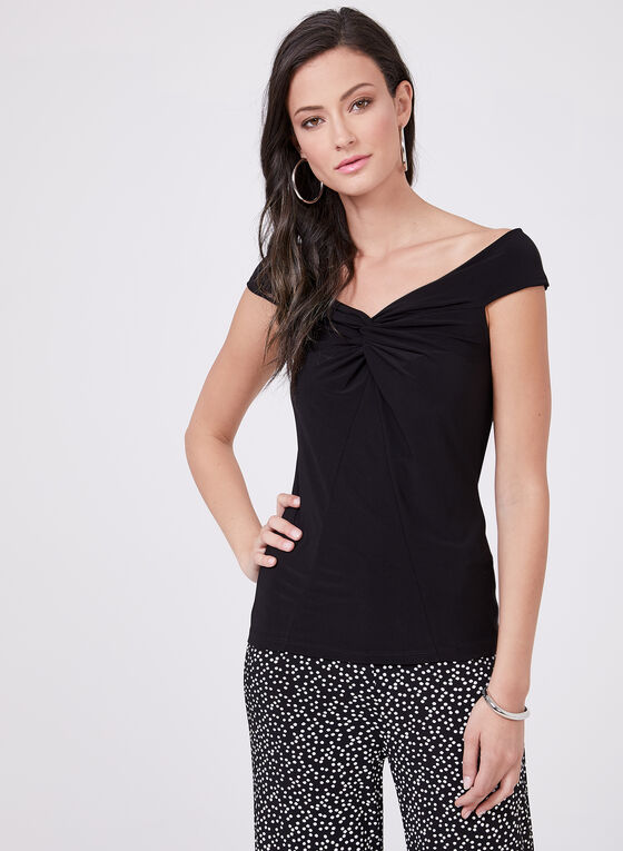 Sleeveless V-Neck Blouse, Black, hi-res