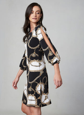 Chain Print Dress, Black, hi-res,  day dress, chain print, balloon sleeves, short sleeves, jersey, scoop neck, fall 2019