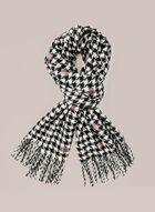 Foulard motifs pied-de-poule et pois, Noir