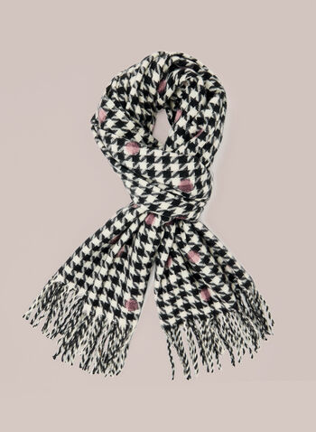 Dot Print Houndstooth Scarf, Black,  fall winter 2020, scarf, accessories, dot print, polka dot, houndstooth, fringe, fringed