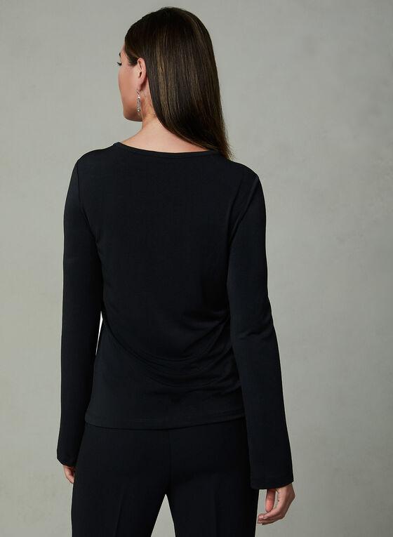 Studded Split Sleeve Blouse, Black, hi-res
