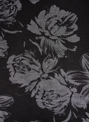 Floral Print Pashmina Scarf, Black,  scarf, pashmina, floral print, floral print scarf, metallic, metallic scarf, holiday, fall 2019, winter 2019