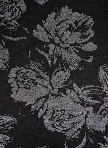 Foulard pashmina à fleurs et fibres métallisées, Noir, hi-res,  foulard, pashmina, fleurs, métal, automne hiver 2019
