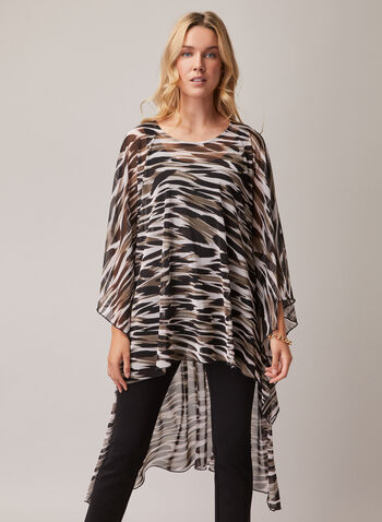 Compli K - Animal Print Poncho Blouse, Black,  blouse, poncho, chiffon, animal print, scoop neck, high low, spring summer 2020