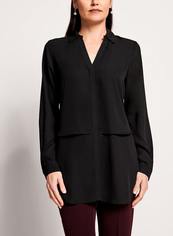 Long Sleeve Notch Collar Tunic Blouse, , hi-res