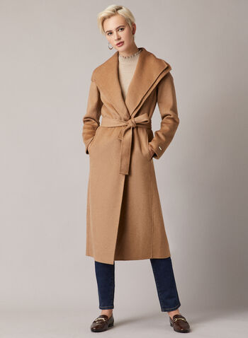 Tahari - Belted Long Coat, Brown,  coat, long, belt, wool, pockets, open, fall winter 2020