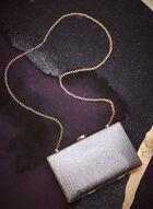 Metallic Detail Evening Clutch , Silver