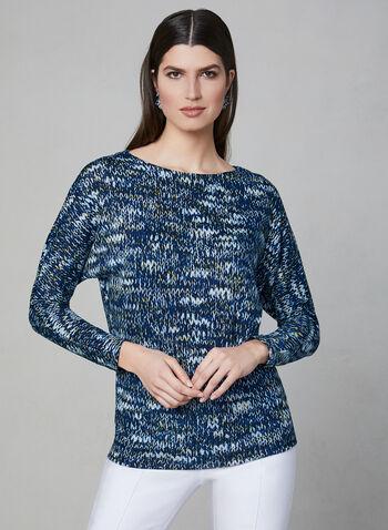 Printed Dolman Sleeve Top, Blue, hi-res