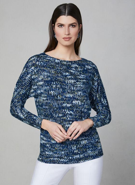 Haut à manches ¾ avec imprimé tricot , Bleu, hi-res