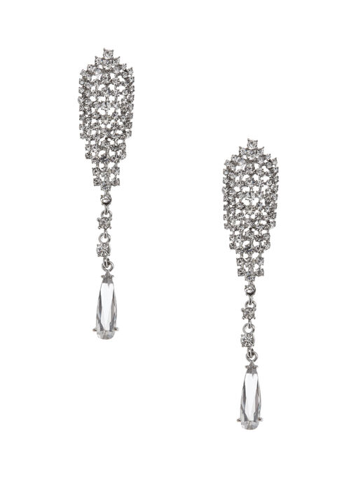 Crystal Mesh Teardrop Earrings, Silver, hi-res