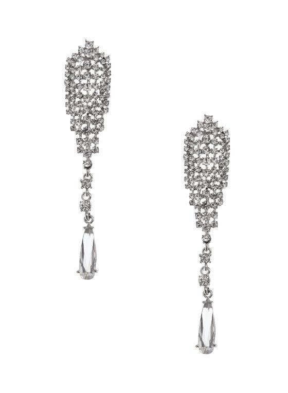 Crystal Mesh Teardrop Earrings, Silver, hi-res