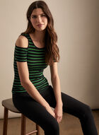 Striped Cold-Shoulder Top, Green