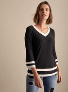 Joseph Ribkoff - Bell Sleeve Contrast Trim Top, Black