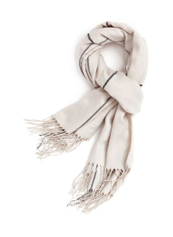 Vince Camuto - Plaid Print Oblong Scarf, Off White, hi-res