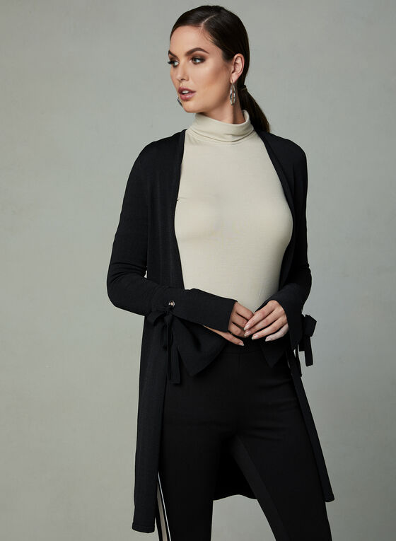 Open Front Bell Sleeve Cardigan , Black, hi-res