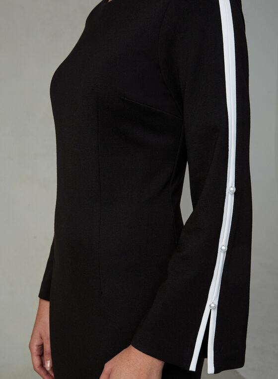 Robe contrastante à détails perlés, Noir, hi-res