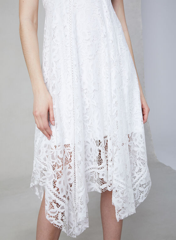 Robe empire à dentelle crochet, Blanc, hi-res