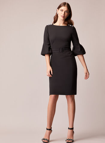 Puffed Sleeve Button Detail Dress, Black,  dress, evening, cocktail, crepe, button details, puffed sleeves belt, fall winter 2020