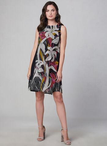 Floral Print Chiffon Dress, Black,  day dress, A-line, lined, sleeveless, shift, chiffon, floral print, fall 2019, winter 2019