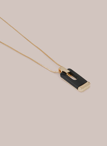 Rectangular Pendant Necklace, Black,  necklace, rectangular, pendant, resin, metallic, snake chain, fall winter 2020