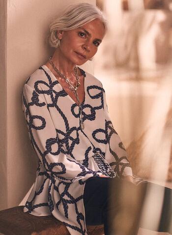 Rope Print Pointed Hemline Blouse, White,  blouse, v-neck, 3/4 sleeves, drawstring, rope print, spring summer 2020