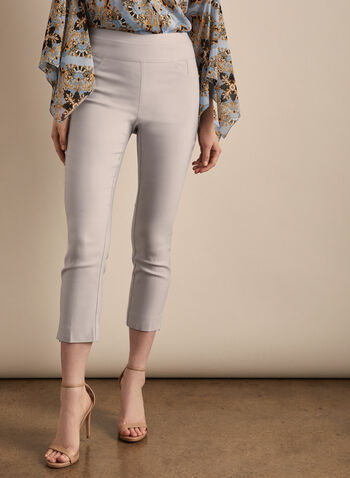 Zipper Hem Pull-On Capris, Silver,  capris, pull-on, ankle zipper, pockets, bengaline, stretchy, spring summer 2020