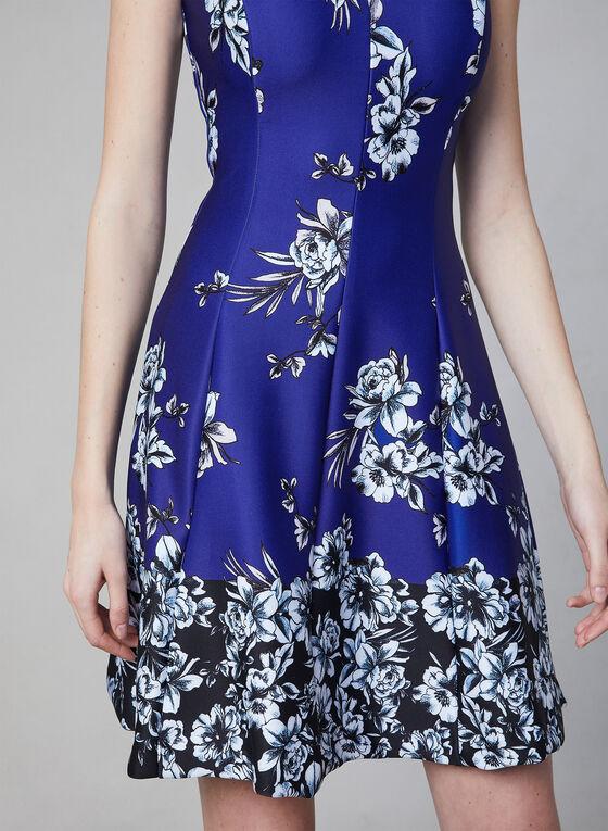 Kensie - Robe fleurie en néoprène, Bleu, hi-res